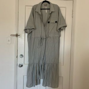 Linen button front dress with chest pocket